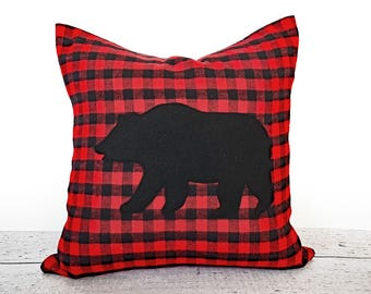 Black Bear Pillows, Red Plaid Cabin Pillow, Applique Bear Pillow Cover, Buffalo Plaid Pillow, Wildlife Pillow, Guys Dorm Pillow,  18x18 NEW