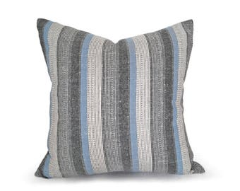 Striped Farmhouse Pillows, Grey Blue Country Pillow, Cream Blue Grey Black Pillows, Neutral Pillow Cover, Blue Striped Cushions, 18, 20, NEW