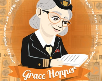 Grace Hopper illustration, illustrated poster women of science, pioneer computer programmer, first BUG discoverer, women of STEM portrait