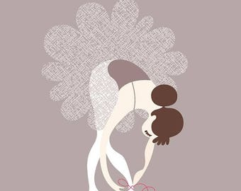 "SUMMER SALE 8X10"" ballerina tying slippers giclée print on fine art paper. dried lavender purple, gray, fuchsia/magenta pink. brunette. cauc"
