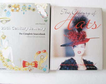 SALE 2 Hat and Jewelry Books, 20th Century Jewelry and 20th Century Hats, Vintage Fashion Books on History of Hats, History of Jewelry