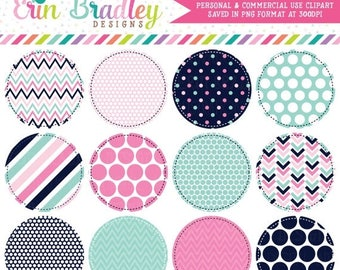 80% OFF SALE Pink and Blue Circle Frames Clipart Clip Art Personal & Commercial Use
