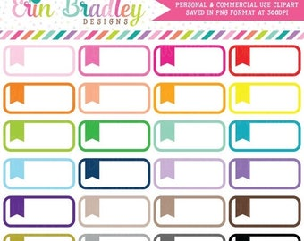 80% OFF SALE Planner Clipart Rounded Flag Label Graphics Personal & Commercial Use Clip Art
