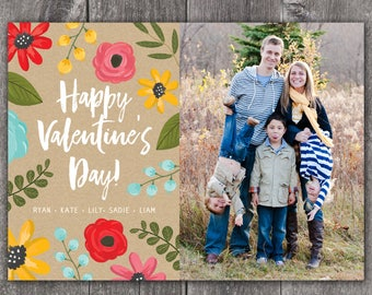 Floral Valentine - Custom Digital or Printed Photo Valentine Greeting Card