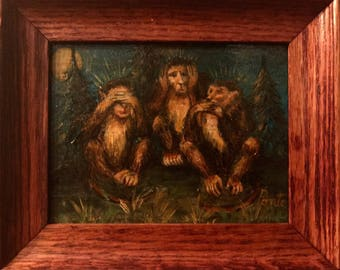 The No Evil Monkeys Original Small Oil  Painting