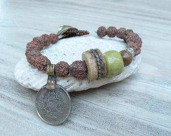 Gypsy Mala Bracelet - Buddha Bracelet, Prayer Beads, Rudraksha Mala, with Tribal Coin Charm, Olive Green, Handmade