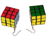 Retro 70's Disco Actual Game Puzzle Cube Earrings Jewelry 1 1/8 inch cube