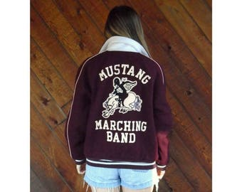 20% off SUMMER SALE. . . Maroon MARCHING Band Varsity Letterman Jacket - Vintage 80s - Medium