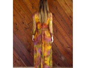 20% off SUMMER SALE. . . Tie Dye Rainbow Silk l/s Sheer Maxi Gown Dress - Vintage 60s - S