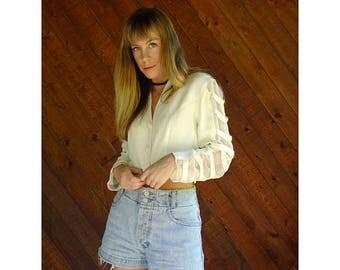 20% off SUMMER SALE. . . Chiffon Ladder Sleeve Crop Blazer Jacket - Vintage 90s - M
