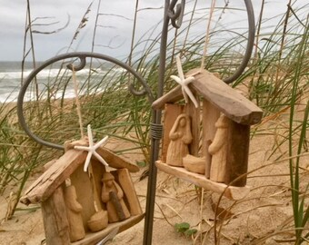 2 driftwood nativity ornaments Outer Banks wood Christmas memento starfish creche manger baby Jesus Christian Beach House Dreams Outer Banks