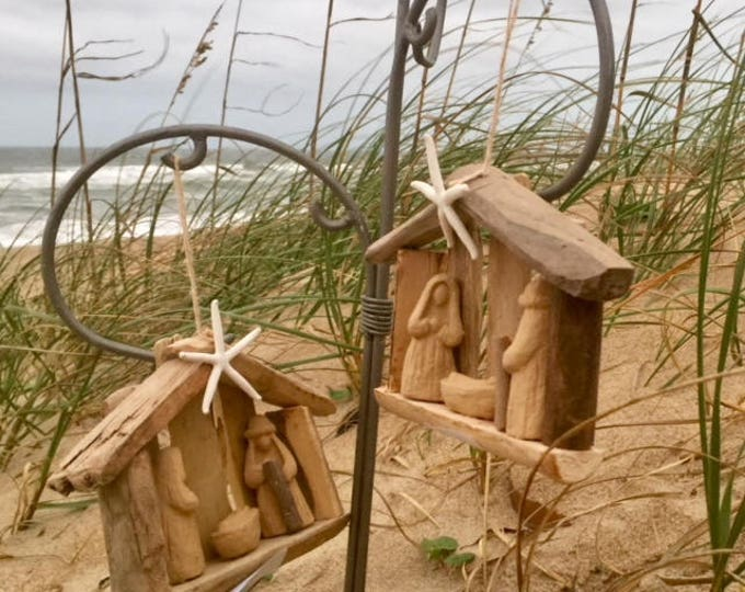 2 driftwood nativity order by Dec 14 Outer Banks wood Christmas ornament starfish creche manger OBX baby Jesus Christian Beach House Dreams