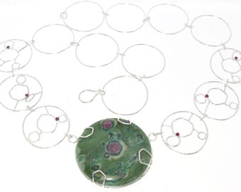 Ruby in Fuchsite with More Rubies Necklace