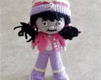 "Bonnie's OOAK Crochet cotton Thread Item 4"" Dark Haired Doll/Not a toy"