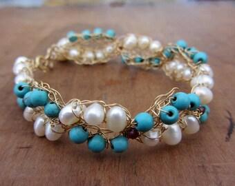 Crochet gold filled wire bracelet, crochet turquoise and pearls gold bracelet, crochet gold bracelet, ooak bracelet, statement jewelry