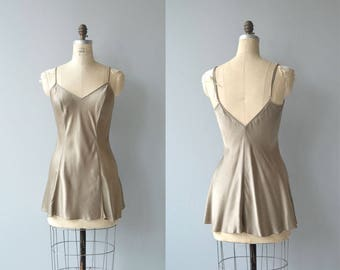 Taupe silk nightie | vintage silk negligee