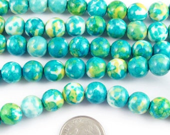 "Round Gemstone Beads-Aqua Blue Rain Flower Stone 8mm 15"" Strand (48)"