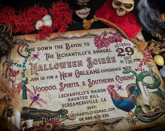 Halloween Party Invitation, Voodoo, Skulls, Snakes, Halloween Invite, Printable, Custom Text, DIGITAL