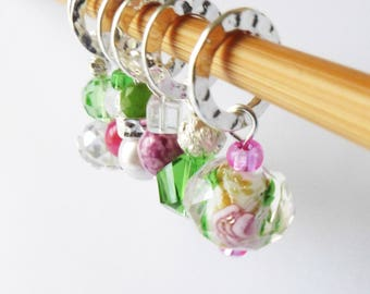 Heart of a Rose - Six Handmade Stitch Markers - 6.5mm (10.5 US) - Last Sets