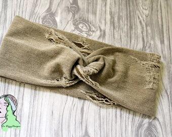 Distressed Faux Denim knot headband, sweatband, hair accessory, yoga headband, turban knot, twist headband, knot headband, jogging headband