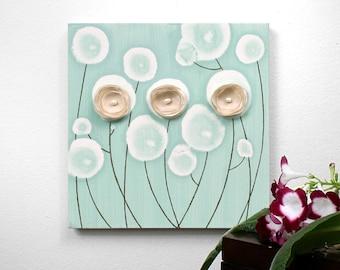 Original Artwork Acrylic Painting on Canvas Flower Wall Art - Small 10x10