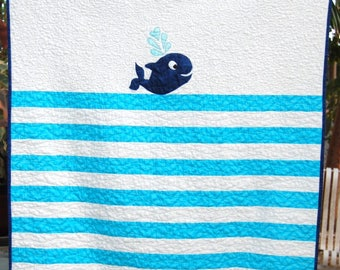 Adorable handmade baby quilt, whale baby quilt, handmade baby boy quilt, handmade baby girl quilt, cute sea baby quilt