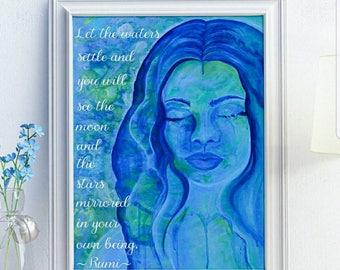 Watercolor Mermaid - Rumi Quote - Rumi Quote Print - Mermaid Art - Blue Watercolor Print - Portrait of Woman - Blue Mermaid Art