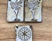 ONE LEFT, Floral Pendant, Stoneware Pendant, ClassicBead, Handcrafted Pendant, Art Bead, handmade ceramic pendant, handmade beads, tracee