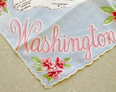 Vintage Handkerchief, Washington Handkerchief, Franshaw Hankie, Washington Souvenir, Printed Handkerchief, State Hankie, Washington Hankie