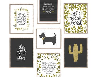 Printables for Home - Home Decor Wall Art - Printable Pack - Hand lettered prints
