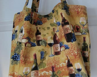 Market Bag, Wine, Napa Valley, Foodie, Subway Bag, Grocery Bag, 100s Fabric Choices