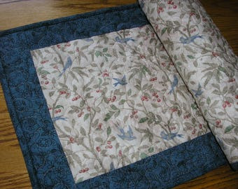 Quilted Table Runner, Blue Bird Runner,  13 1/2 x 37 inches
