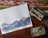 ReServed - - Original Watercolor Painting  / Mountain Shadows