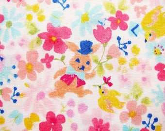 Japanese Fabric - Floral Print Fabric - Rabbits and Flowers - Fat Quarter - Sevenberry