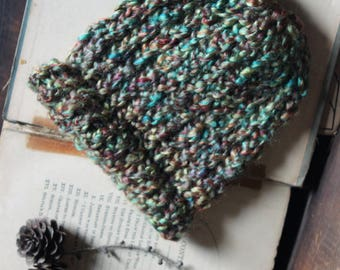 Wildflower Baby Beanie. Hand Knit Boho Multi Colored Baby Cold Weather Hat.