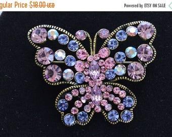 On sale Pretty Vintage Pink, Purple Rhinestone Butterfly Brooch, Gold tone (N6)