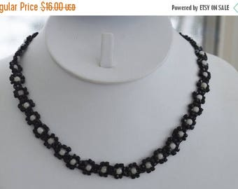 "ON SALE Pretty Vintage Black, Gray Glass Beaded Floral Necklace, 17"" (G13)"