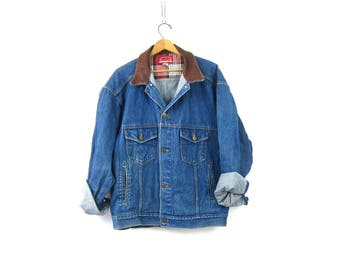 Marlboro Jean Jacket Button down Denim Trucker Coat Leather Collar Oversized Rugged Fit Mens Woodsy Camp Coat Mens Size Extra Large XL