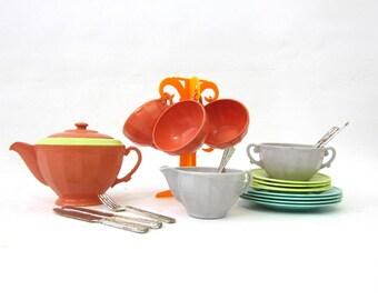 Vintage Doll Tea Set & SilverwareTea Party Settings Children's Dishes Child's Vintage Cups for Kids