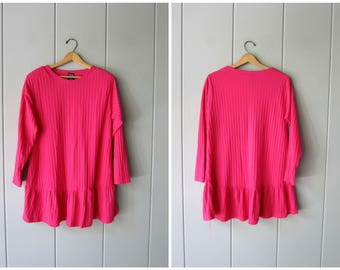 80s Mini Dress Long Tunic Shirt Dress Jumper PINK Minidress 1980s Flirty Ribbed Dress Preppy Boho Oversized Dress Womens Large