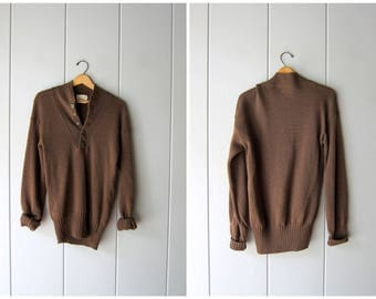 Drab Olive Army Henley Sweater Green WOOL Sweater Military Pullover Grunge Vneck Button Up Boyfriend Sweater Vintage Womens Small