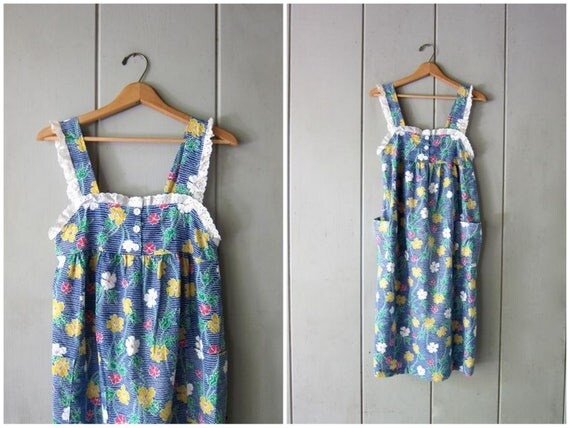 Vintage 80s Midi Sun Dress Floral Retro Sundress 70s Boho Flirty Summer Dress Basic Hipster Pin Up Apron Dress Vintage Womens Small