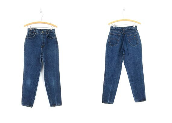 80s High Waist Blue CHIC Jeans Denim Tapered Leg Mom Jeans Vintage Dark Stone Wash 1980s Hipster Jeans GS Womens size 7 Petite Small
