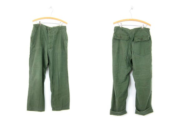 Vintage Army Pants Mens Worn In Military Trousers Army Green Grunge Utility Work Pants Button Fly Mens Cargo Pants Waist Size 36 x 31