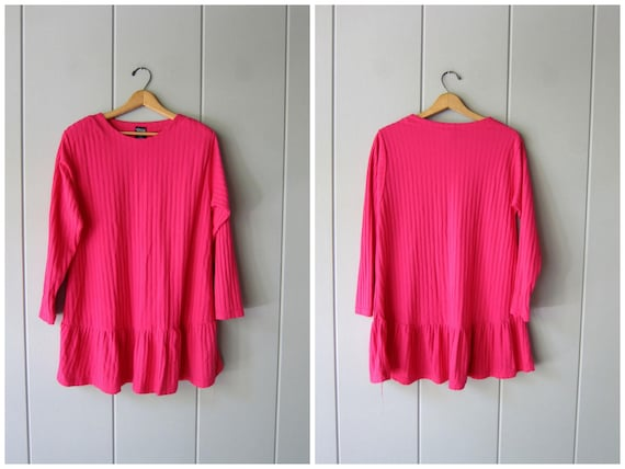 80s Mini Dress Long Tunic Shirt Dress Jumper PINK Minidress 1980s Flirty Ribbed Dress Preppy Boho Oversized Dress Womens Large