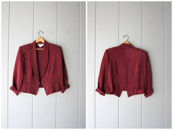 Vintage 80s Purple Rayon Blazer Cropped Silky Jacket Loose Fit Boho Minimal 90s Slinky Dress Coat Hipster Modern Womens Small Medium Large