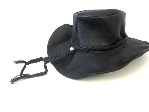 Vintage Black Leather Hat Cowboy Western Outlaw Hat Indiana JonesBoho Grunge Black Leather band Hat Braided leather Strap Size XL