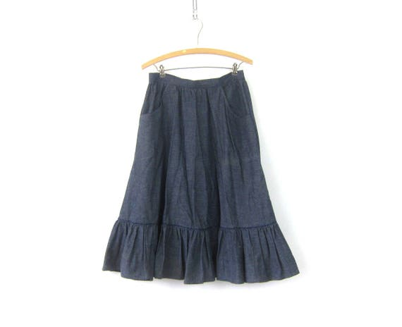 Long Button Jean Skirt Blue Denim PEASANT Boho Skirt Midi Skirt Bohemian Cowgirl Ruffle Skirt High Waist Hippie Skirt MN Women's Size Small