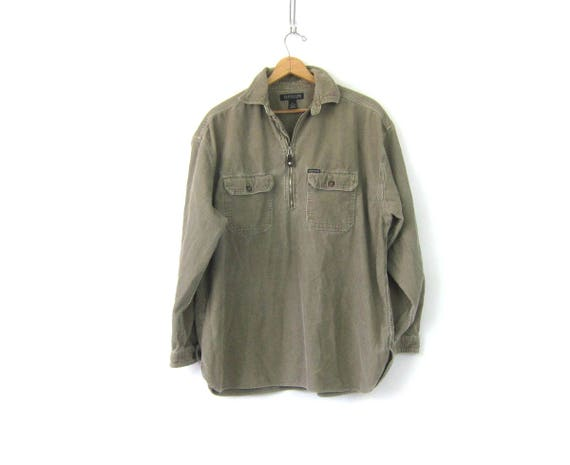 Sage Green Corduroy Shirt 90s Henley Pullover Long Sleeve Zip Up Shirt Jacket Slouchy Top Oversized Fall Baja Shirt men's Size Large