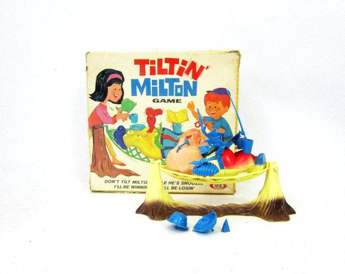 Tiltin Milton Game Vintage Ideal Game Retro Game Night 1960s Family Game Hammock Toy with Blue Pieces